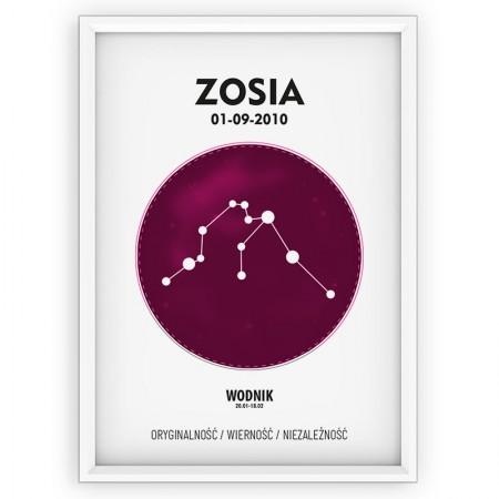 PLAKAT PERSONALIZOWANY - znak zodiaku - WODNIK - pink