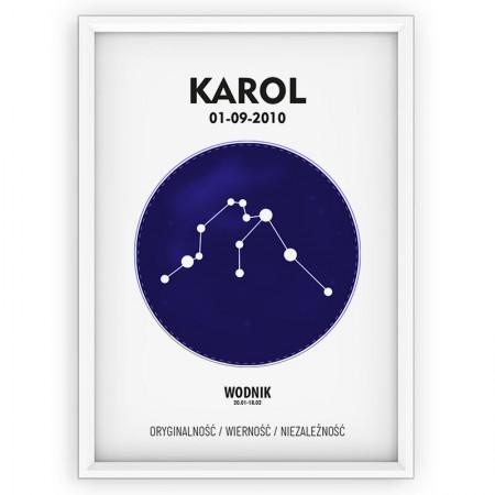 Plakat personalizowany - znak zodiaku WODNIK