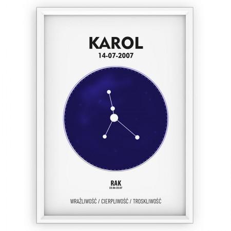 PLAKAT PERSONALIZOWANY- znak zodiaku- RAK- blue