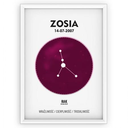 PLAKAT PERSONALIZOWANY - znak zodiaku - RAK- pink