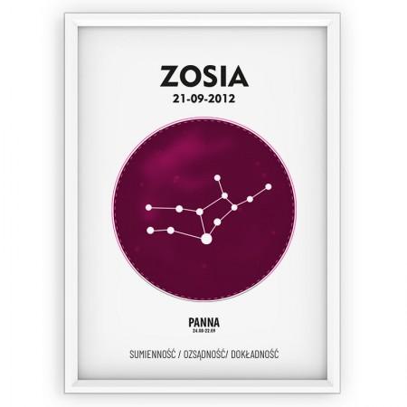 PLAKAT PERSONALIZOWANY- znak zodiaku- PANNA- pink