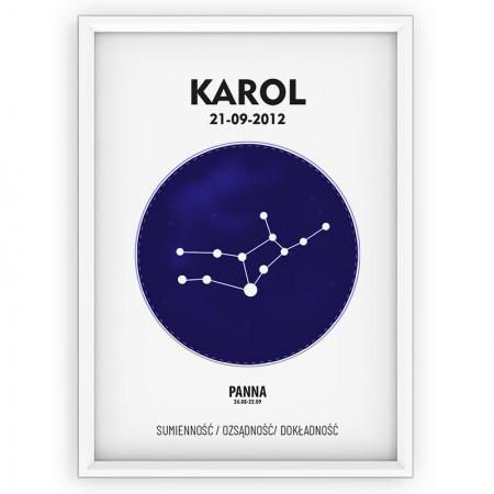 PLAKAT PERSONALIZOWANY- znak zodiaku- PANNA- blue
