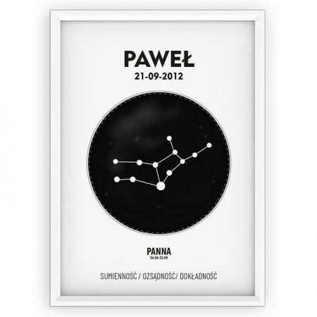 PLAKAT PERSONALIZOWANY- znak zodiaku- PANNA- black