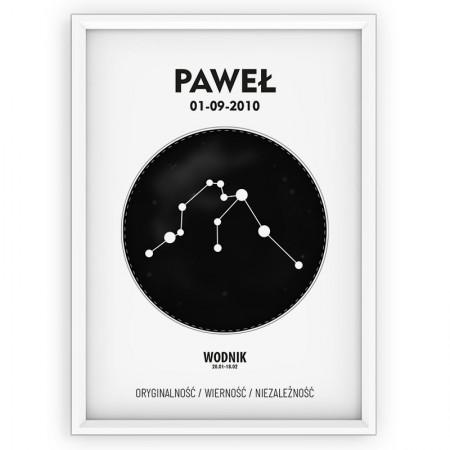 plakat personalizowany - znak zodiaku- WODNIK black
