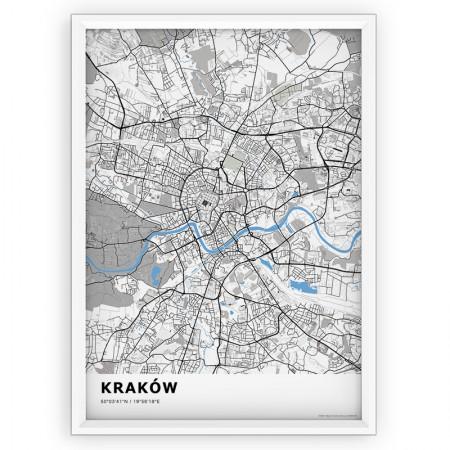MAPA / PLAKAT - KRAKÓW / standard BLUE